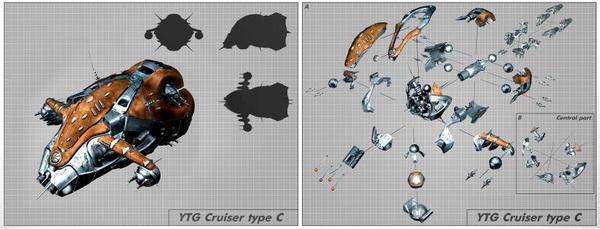 skyjacker макет крейсера в собранном и разобранном виде