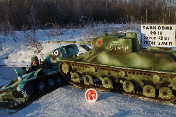 Танковый косплей из снега от игроков в World of Tanks
