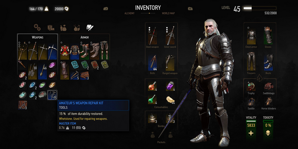 Witcher 3 Blood and Wine inventory